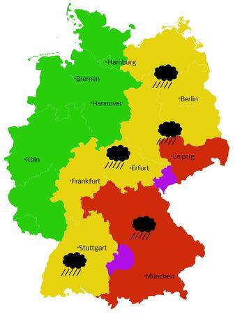 Heavy rain Storm Map of Germany
