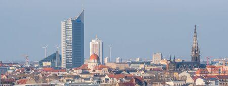 Panorama Skyline of Leipzig Фото со стока
