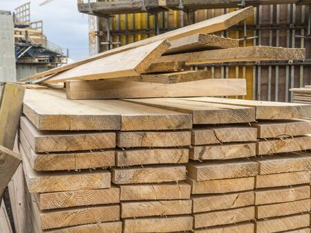 Timber on the construction site