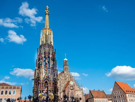 Main market in Nuremberg with beautiful fountain in germany