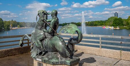 Panorama rider statue at the Wöhrder lake