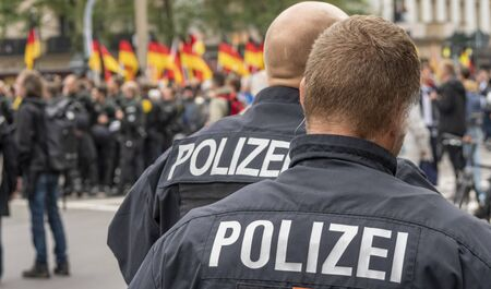 Panorama police operation in Germany during a demo Banque d'images