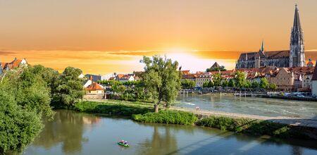 Panoramic view of Regensburg at sunset