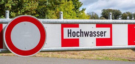 German flood shield Information sign