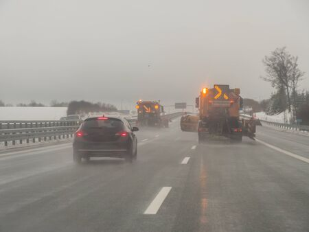 Winter road clearance on a German motorway