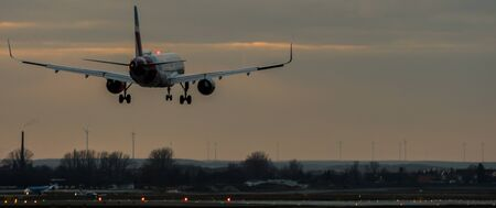 Passenger plane in landing approach