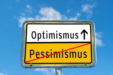 Optimism/Pessimism sign Banque d'images