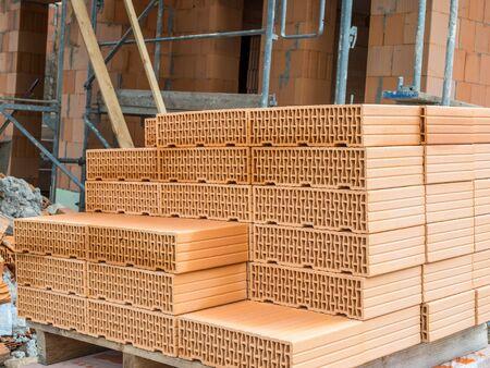many brick stones at house build Stockfoto - 131587840