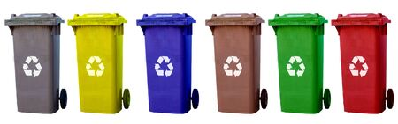Panorama garbage cans different colors