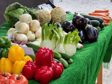 Fresh organic vegetables on the weekly market