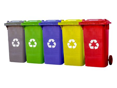 Garbage cans different colors isolated