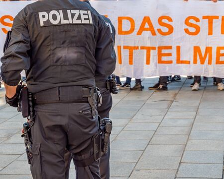 Police officers at a demonstration in Germany 版權商用圖片