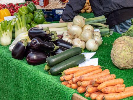 Fresh organic vegetables on the market