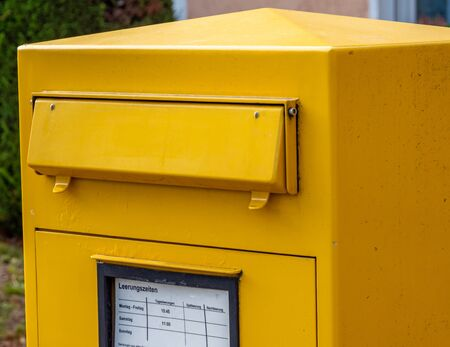 yellow Mailbox in Germany on the street Stockfoto