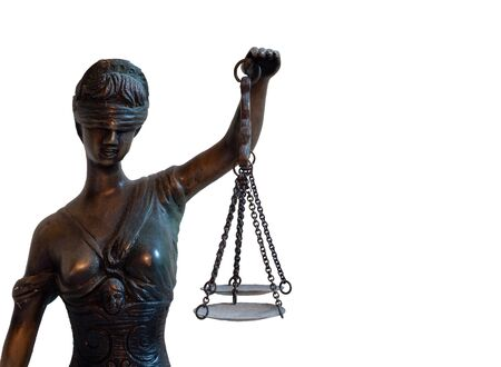 Justitia isolated on white background