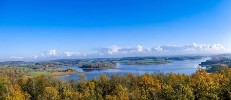 Panorama of the dam in autumn Vogtland Saxony Germany Фото со стока