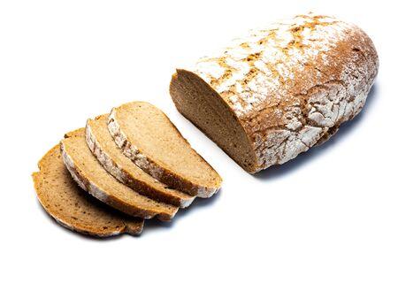 Organic rye bread isolated white background