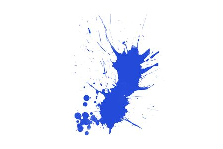 Splash in the color blue on white background