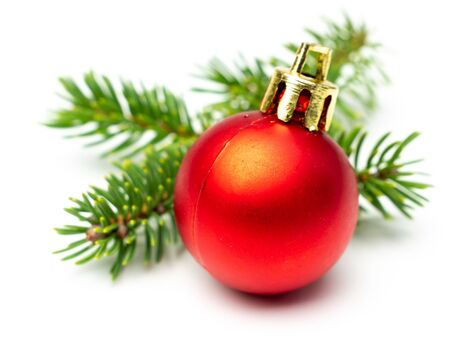 Red bauble isolated with fir branch
