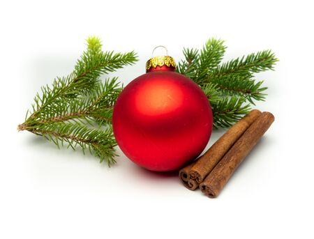 Isolated branch with christmas decoration