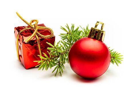 Gift and christmas balls isolated