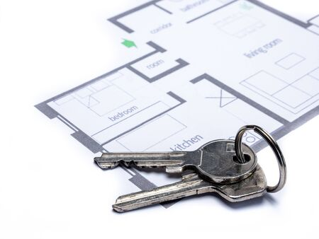 Floor plan with keychain of an apartment
