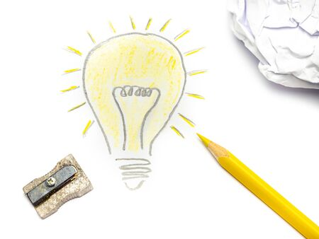 Drawing Lightbulb Having an idea with yellow colored pencil