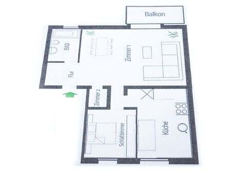 Architectural office Floor plan of an apartment in german