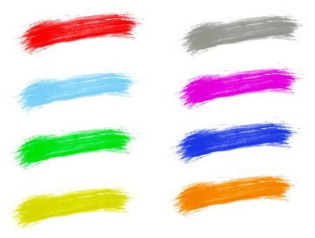 many brush stroke colors isolated white background Фото со стока
