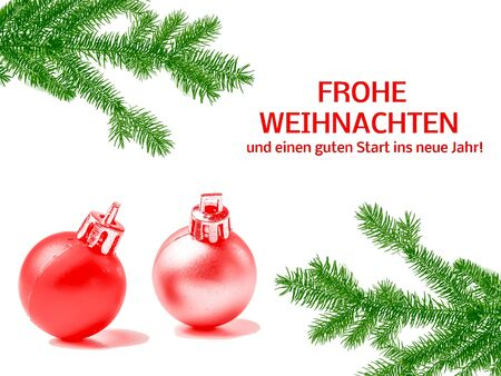 graphic template Merry Christmas card in german Фото со стока