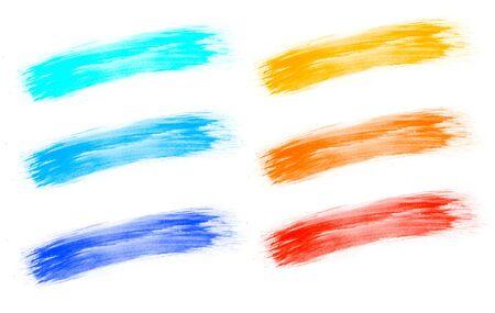 Brush stroke art color isolated white background