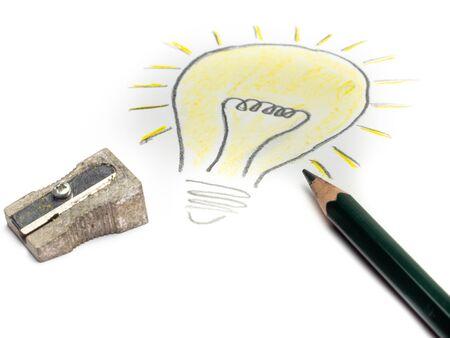 Drawing lightbulb Having an idea with pencil