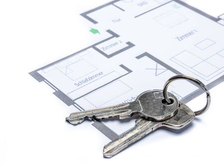 Floor plan with keychain of a flat template