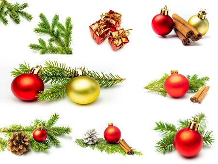 Collage fir branches Christmas baubles gifts Фото со стока