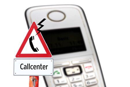 Warning sign call center rip off the phone Фото со стока