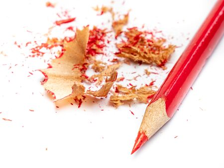 Red colored pencil isolated on white background