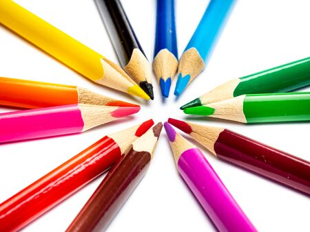 Red colored pencil isolated background