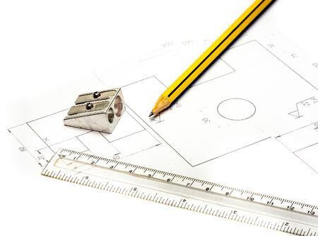 Technical drawing with pencil ruler and sharpener Banco de Imagens