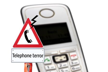 Attention telephone terror warning sign isolated Фото со стока