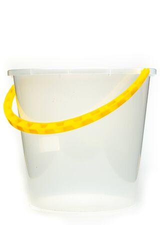 Plastic bucket isolated on white background