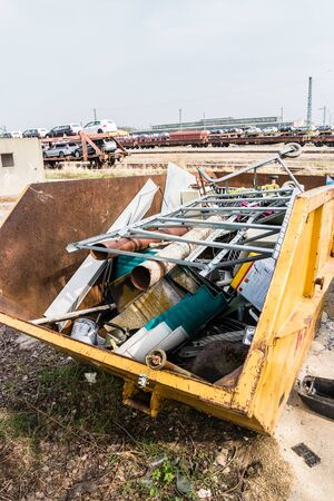 Metal scrap in a waste sorting container