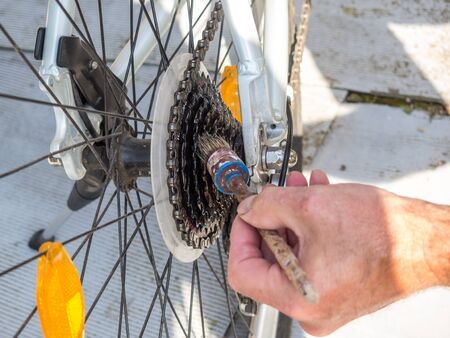 Oiling the bicycle chain