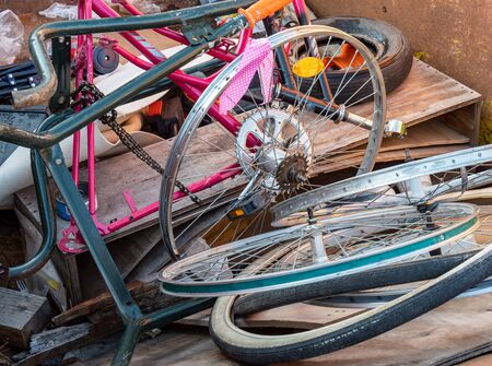 Scrap collection of old bicycles