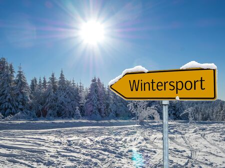 Winter sport sign arrow in german