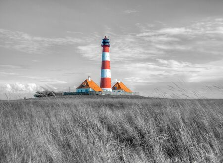 Westerhever lighthouse on the north Sea in germany
