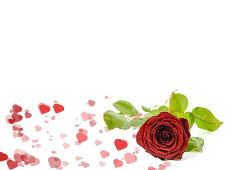 Valentine's day template isolated on white background Banco de Imagens