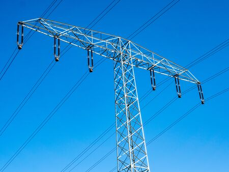 Electricity pylon with power lines