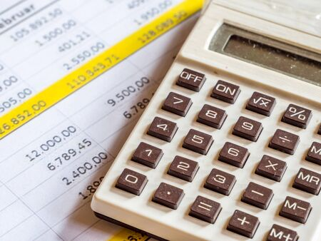 statistics with pocket calculator background