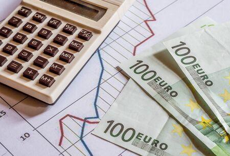 euro statistics background with calcualtor