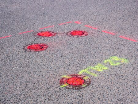 Marking a road construction site